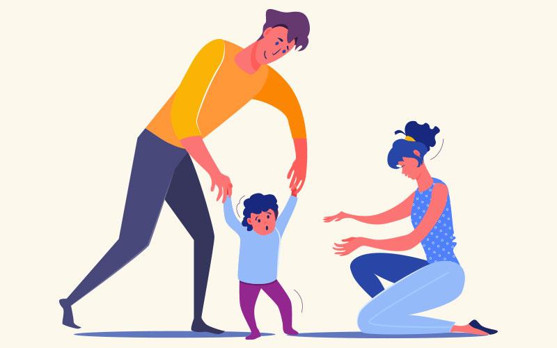 Учим ребенка ходить с помощью поддержки