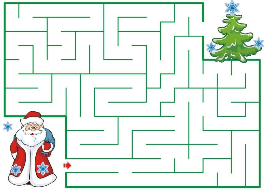 2. Головоломки для детей - лабиринт с Дедом Морозом.