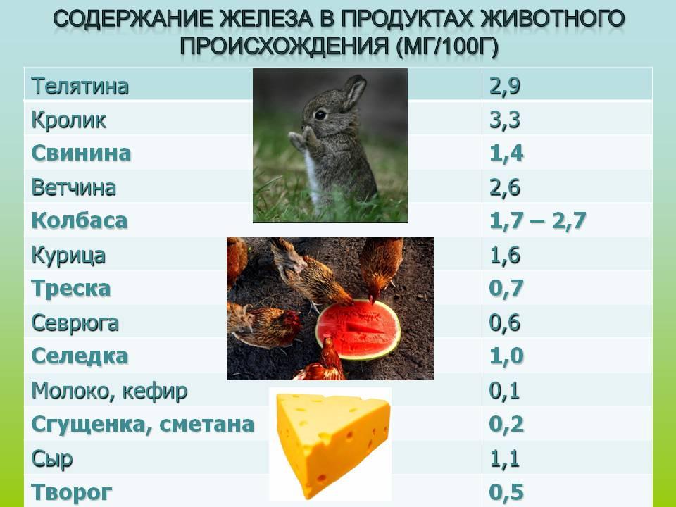 Содержание железа в избранных пищевых продуктах.